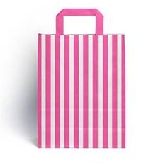 Papiertragetaschen mit Flachhenkel gestreift pink