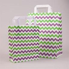 Papiertragetaschen mit Flachhenkel Winkelmuster gelbgrün/ rotlila/ weiß