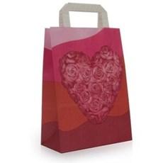 Papiertragetaschen mit Flachhenkel Herzmotiv mit Rosen