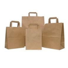 Premium Papiertragetaschen mit Flachhenkel braun