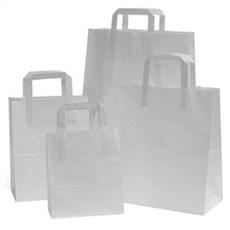 Papiertragetaschen mit Flachhenkel weiß