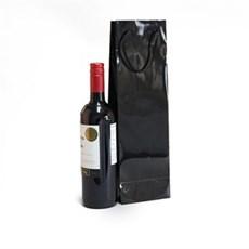 Exklusive Papietragetaschen für eine Flasche schwarz glänzend
