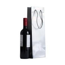 Exklusive Papietragetaschen für eine Flasche silber glänzend