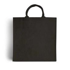 Jutetragetaschen mit gepolsterten Tragegriffen schwarz