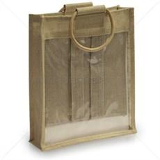 Jutetaragetaschen für drei Flaschen Sichtfenster