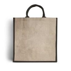 Jutetragetaschen mit gepolsterten Tragegriffen naturfarben mit schwarzer Umrandung