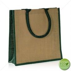 Jutetragetaschen mit gepolsterten Tragegriffen naturfarben mit smaragdgrüner Umrandung