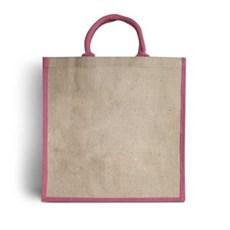 Jutetragetaschen mit gepolsterten Tragegriffen naturfarben mit erikavioletter Umrandung