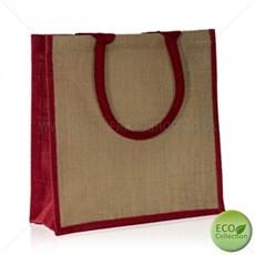 Jutetragetaschen mit gepolsterten Tragegriffen naturfarben mit roter Umrandung