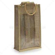 Jutetragetaschen für zwei Flaschen Sichtfenster
