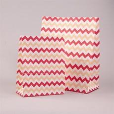 Blockbodenbeutel Winkelmuster mit Kartonboden himbeerrot/ beige/ weiß