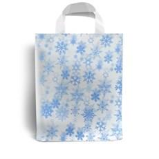 Kunststofftragetaschen mit Schlaufengriffen, blaue Schneeflocken Motiv