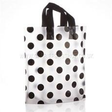 Kunststofftragetaschen mit Schlaufengriffen schwarzes Punktmuster