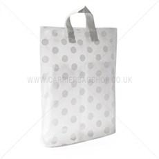 Kunststofftragetaschen mit Schlaufengriffen graues Punktmuster