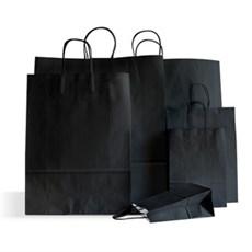 Papiertragetaschen mit Kordelgriffen schwarz