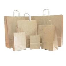 Premium Papiertragetaschen mit Kordelgriffen braun