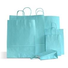 Papiertragetaschen mit Kordelgriffen hellblau