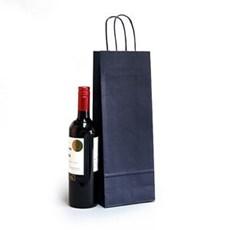 Premium Papiertragetaschen mit Kordelgriffen für eine Weinflasche blau
