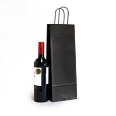 Premium Papiertragetaschen mit Kordelgriffen für eine Weinflasche schwarz