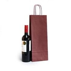 Premium Papiertragetaschen mit Kordelgriffen für eine Weinflasche weinrot