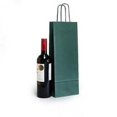 Premium Papiertragetaschen mit Kordelgriffen für eine Weinflasche grün