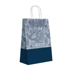 Papiertragetaschen mit Kordelgriffen Paisleymuster blau