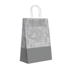 Papiertragetaschen mit Kordelgriffen Paisleymuster silber
