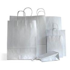 Papiertragetaschen mit Kordelgriffen silber