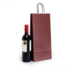 Premium Papiertragetaschen mit Kordelgriffen für zwei Weinflaschen weinrot