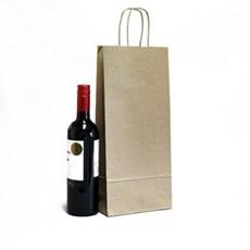 Premium Papiertragetaschen mit Kordelgriffen für zwei Weinflaschen braun