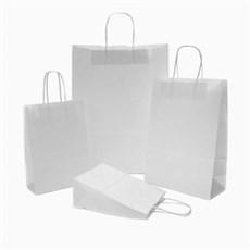 Premium Papiertragetaschen mit Kordelgriffen weiß