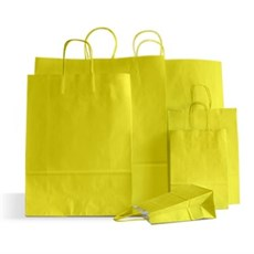 Papiertragetaschen mit Kordelgriffen gelb