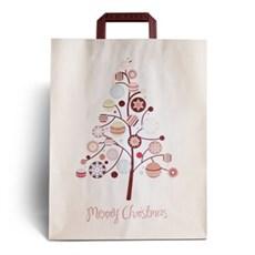 Papiertragetaschen mit Henkel, Merry Christmas Motiv