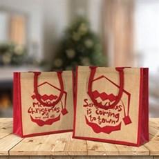 Jutetragetaschen mit dem Santa Claus Is Coming Motiv