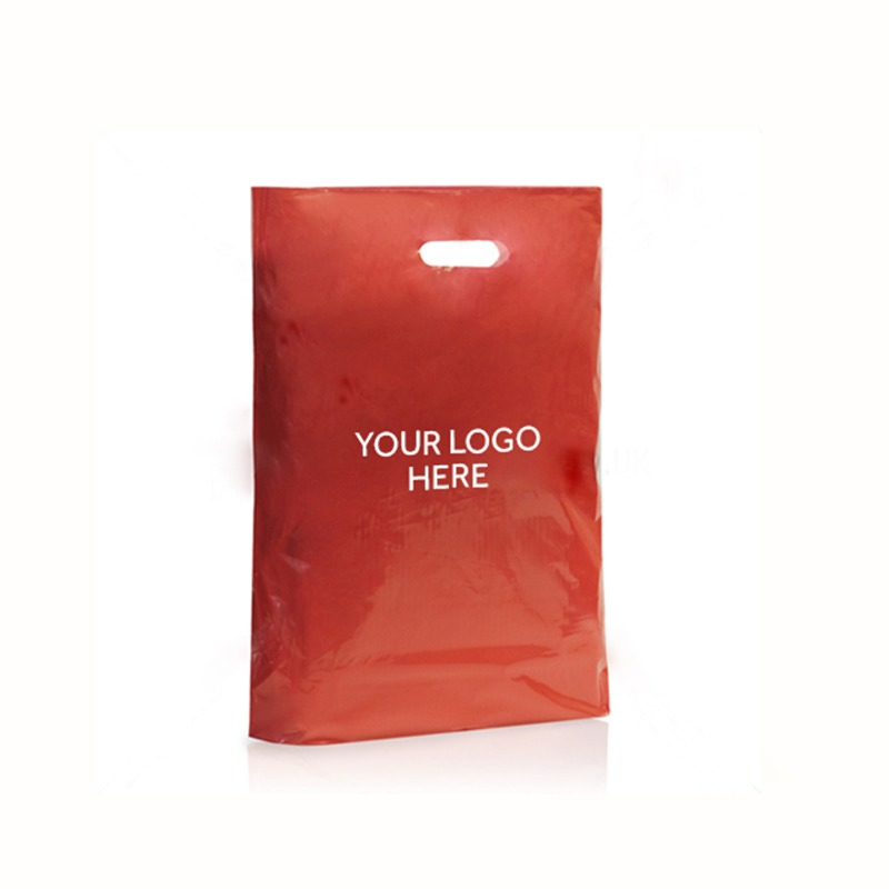 Red Printed Varigauge Plastic Carrier Bags